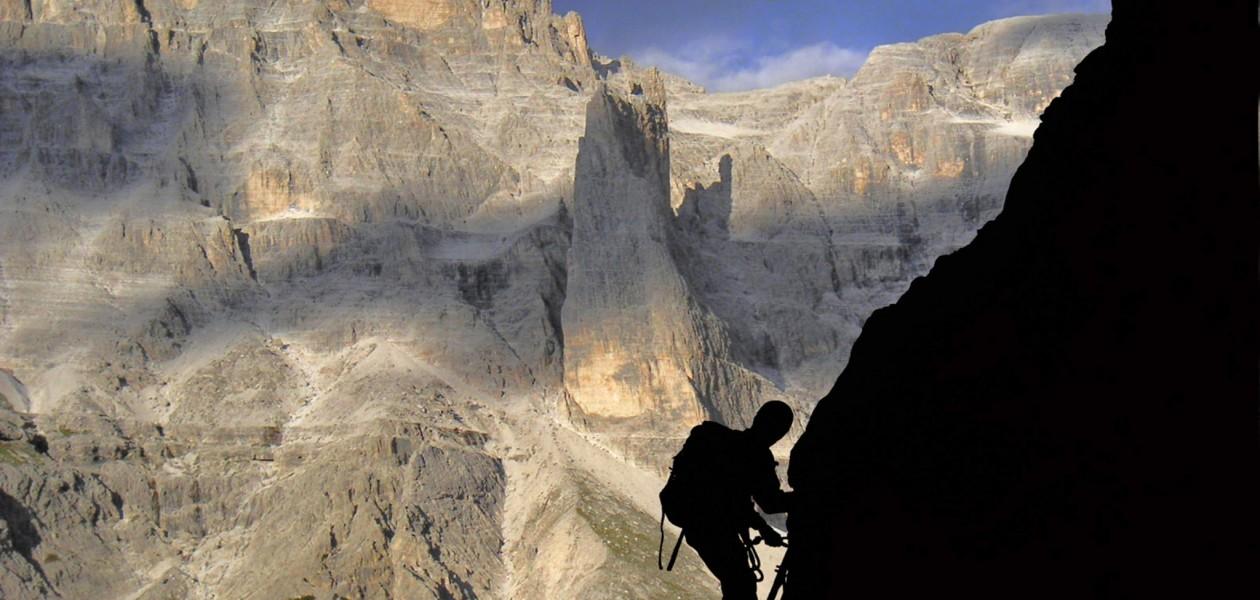 Foto auf dem Rotwandklettersteig in den Sextener Dolomiten