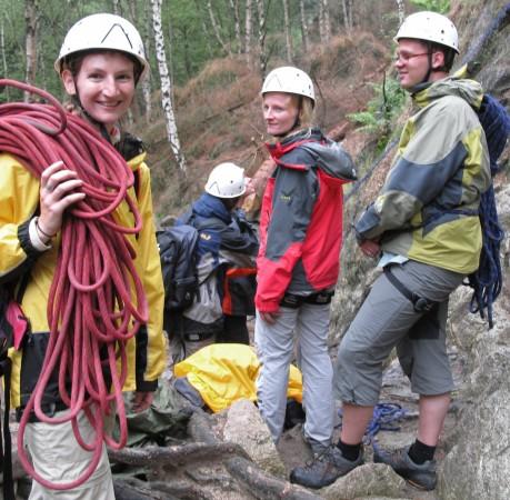 Foto vom Ende eines schönen Kurstages beim Kletterkurs im Harz