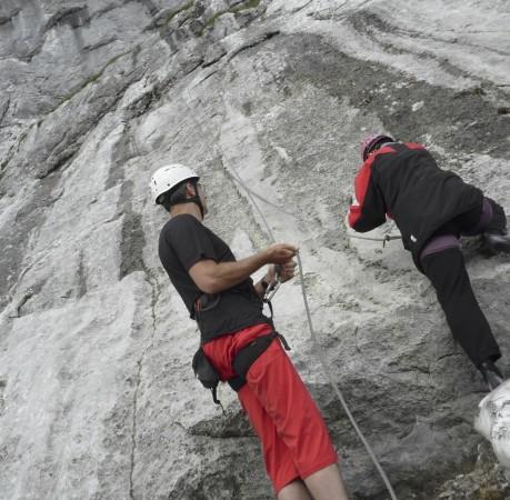 """Foto Im Klettergarten """"Schärtenwand"""" beim Kletterkurs in den Berchtesgadener Alpen"""