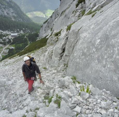 Foto vom Aufstieg zum Steinberg beim Kletterkurs in den Berchtesgadener Alpen