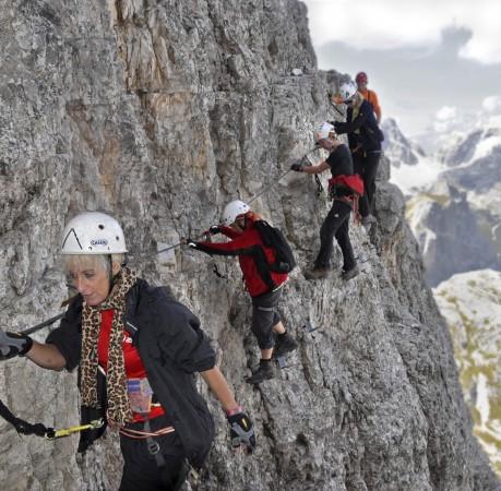 Foto auf dem Klettersteig am Toblinger Knoten in den Sextener Dolomiten