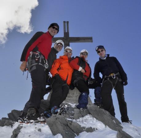 Foto vom Gipfel des Allalinhorn (4027m) im Wallis (Schweiz)
