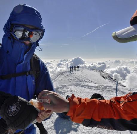 Foto auf dem Gipfel des Breithorn (4164m) im Schweizer Wallis