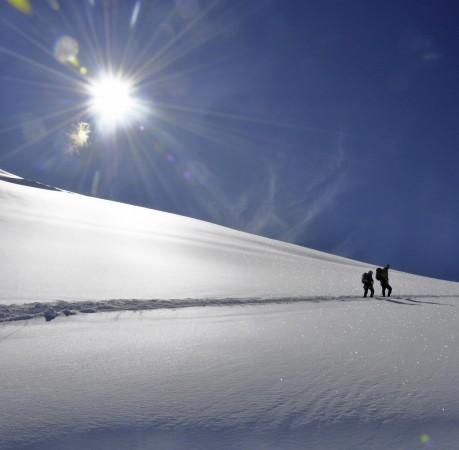 Foto vom Aufstieg zum Gipfel des Allalinhorn im Schweizer Wallis