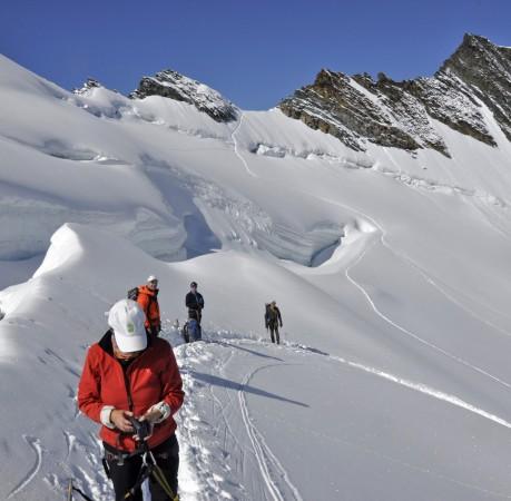 Foto vom Weg zum Gipfel des Allalinhorn im Schweizer Wallis