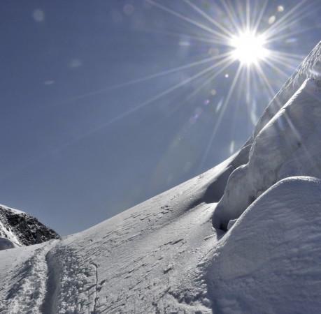 Foto vom Weg zum Gipfel des Breithorn Schweizer Wallis