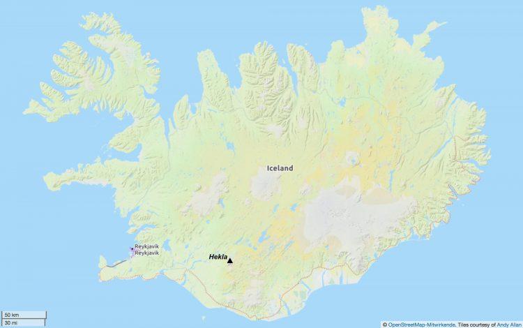 Die Hekla ist ein Vulkan im Süden von Island. Auf dieser Karte finden Sie die Position des Vulkans.